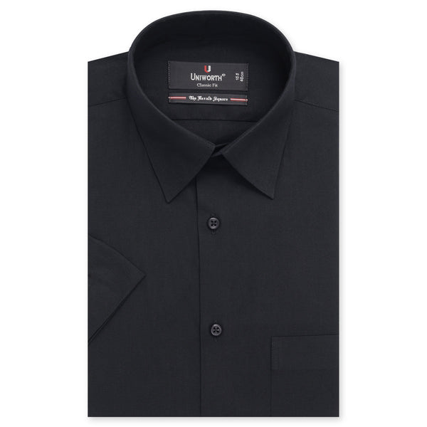 Black Plain Half Sleeve Classic Fit Dress Shirt-14.5