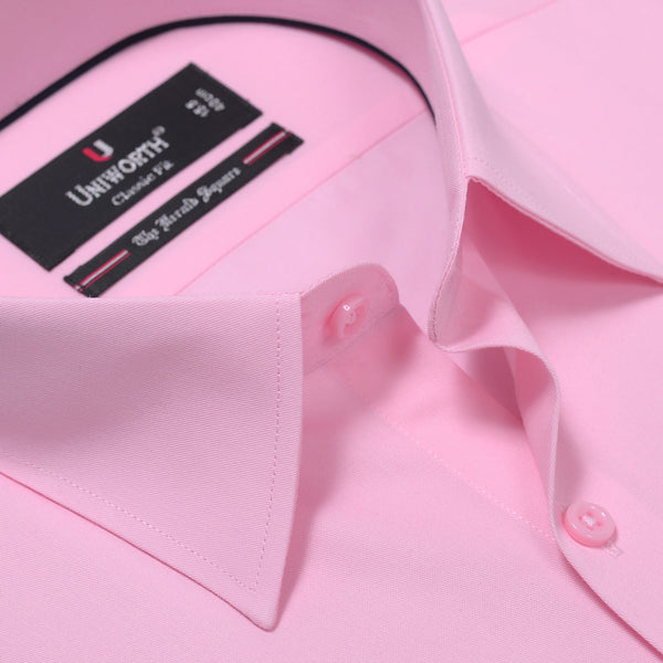 The Herald Square Pink Plain Classic Fit Dress Shirt