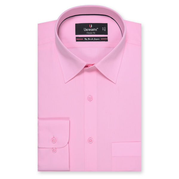 The Herald Square Pink Plain Classic Fit Dress Shirt-15