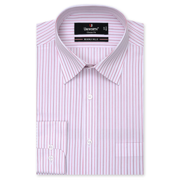 Beverly Hills White And Red Striped Classic Fit Men's Dress Shirt FS19024-15