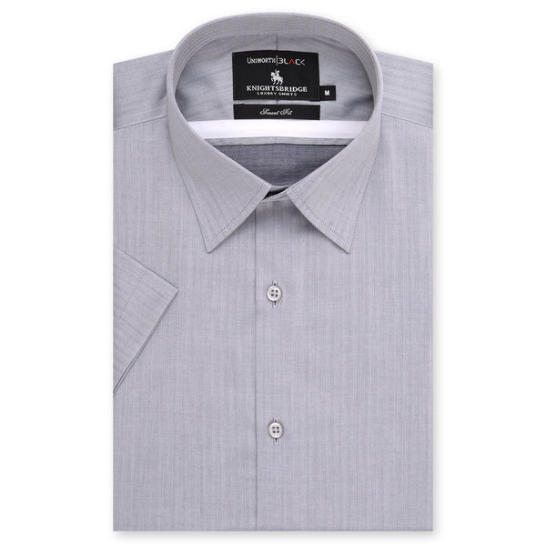 Knight Bridge Grey Self Striped Half Sleeve Dress Shirt FS2011H-L