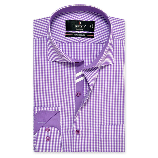 Times Square Purple And White Smart Fit Check Shirt-14.5