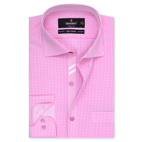White And Pink Check Smart Fit Designer Shirt FS2021-14½