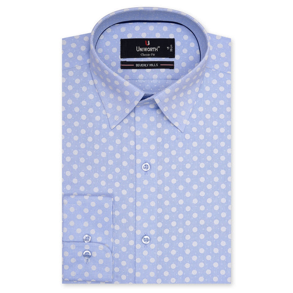 Beverly Hills White Dots On Sky Blue Printed Dress Shirt-14.5