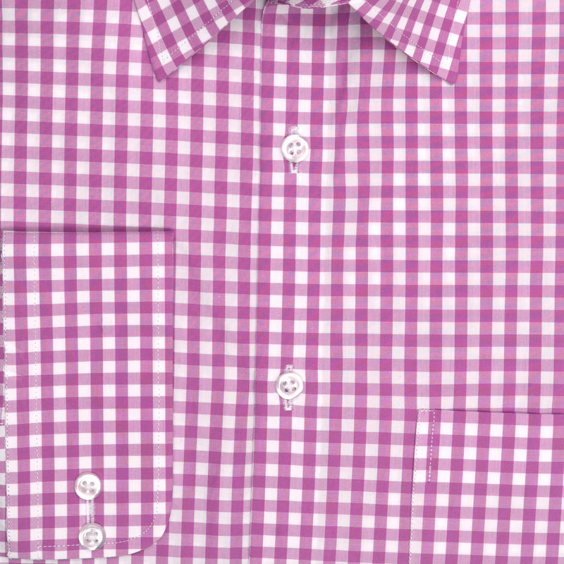 7th Avenue White And Purple Check Classic Fit Dress Shirt