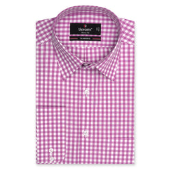 7th Avenue White And Purple Check Classic Fit Dress Shirt-14.5