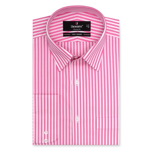 Time Square White And Pink Stripe Classic Fit Men Dress Shirt-14.5