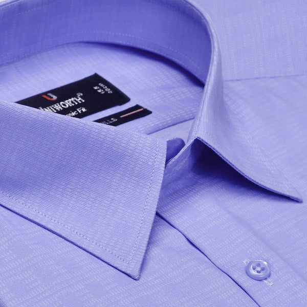 Sky Blue Self Check Textured Classic Fit Men's Dress Shirt