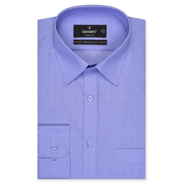 Sky Blue Self Check Textured Classic Fit Men's Dress Shirt FS2165-1-15