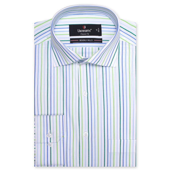 Beverly Hills Stripe Classic Fit Men Dress Shirt-14.5