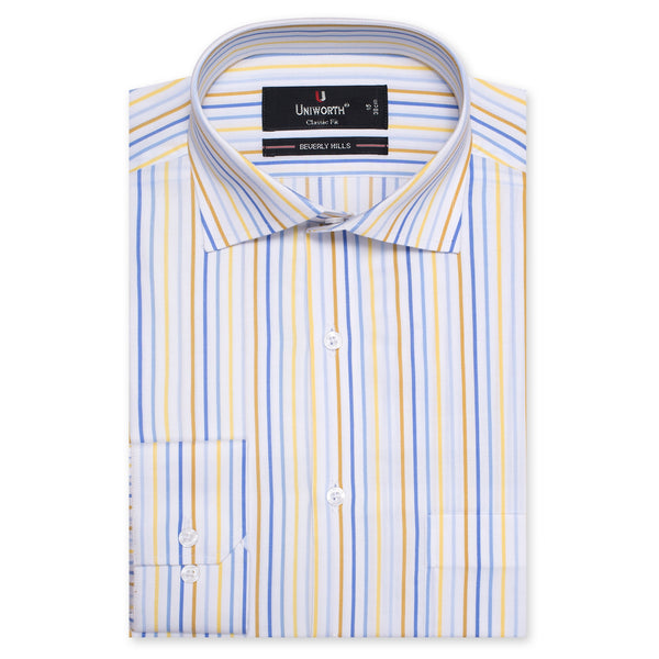 Beverly Hills White And Blue Stripe Classic Fit Men Dress Shirt-14.5