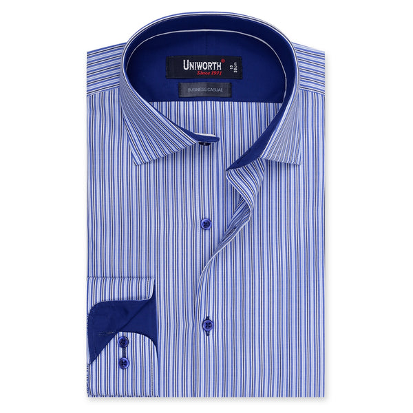 Blue And Black Stripe Business Casual Full Sleeve Shirt-14.5