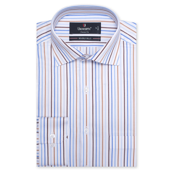 Beverly Hills Multi Stripe Classic Fit Men Dress Shirt-14.5