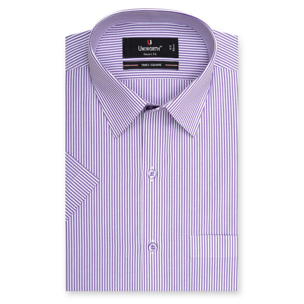 Times Square Purple And White Stripe Half Sleeve Dress Shirt-14.5