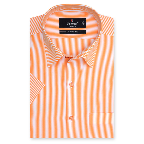 Times Square Orange And White Stripe Half Sleeve Dress Shirt-14½