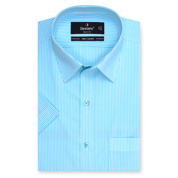 Times Square Aqau Blue And White Stripe Half Sleeve Dress Shirt-15