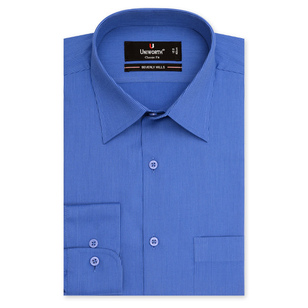 Beverly Hills Royal Blue Self Stripe Classic Fit Dress Shirt-14.5
