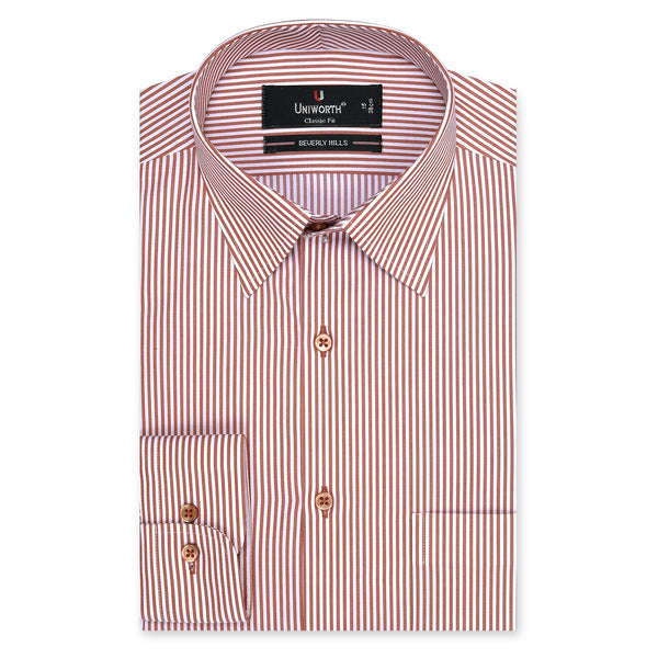Beverly Hills Rust And White Stripe Classic Fit Men's Dress Shirt-14.5