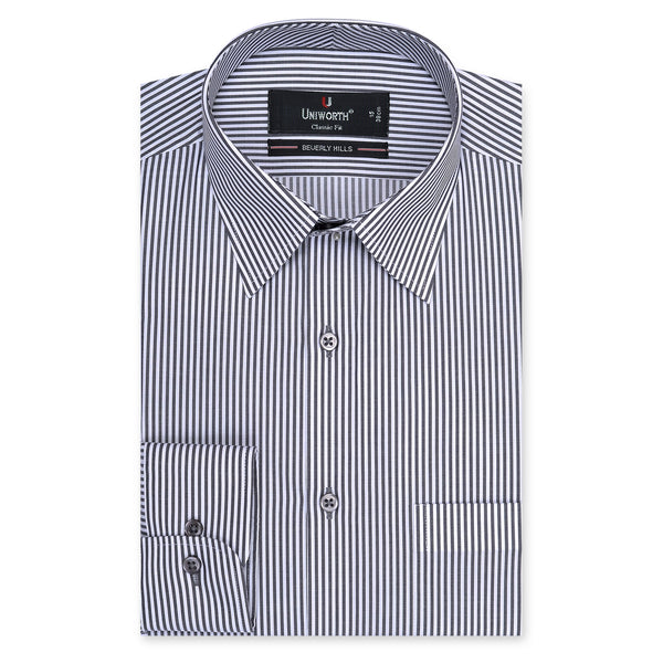 Beverly Hills Black And White Stripe Classic Fit Men's Dress Shirt-14.5