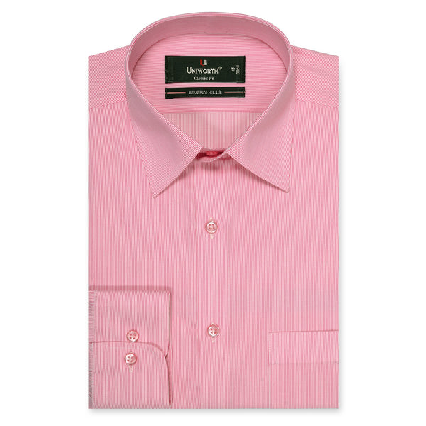 Beverly Hills Pink And White Stripe Classic Fit Men's Dress Shirt-14.5
