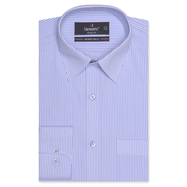 Beverly Hills Blue And White Striped Classic Fit Dress Shirt FS2373-14½