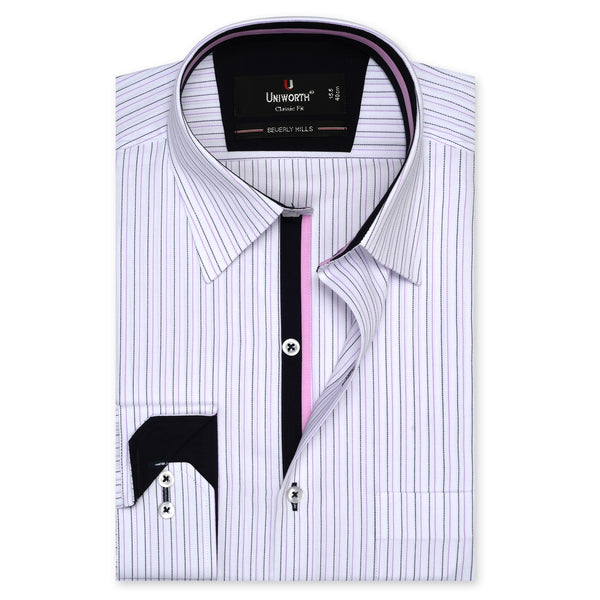 Beverly Hills Purple And White Stripe Classic Fit Dress Shirt FS2473-14.5
