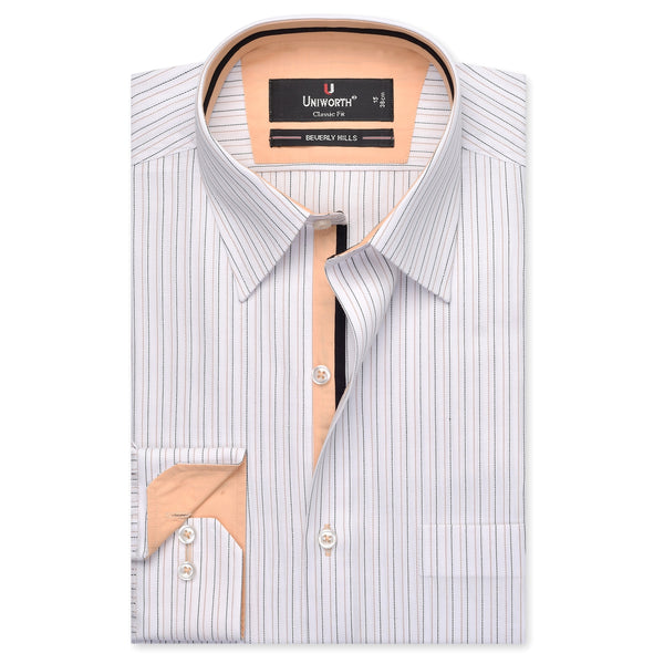 White And Black Striped Designer Classic Fit Shirt FS2475-14½