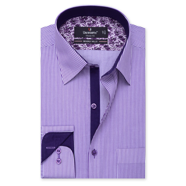 Beverly Hills White And Purple Stripe Classic Fit Dress Shirt-14.5