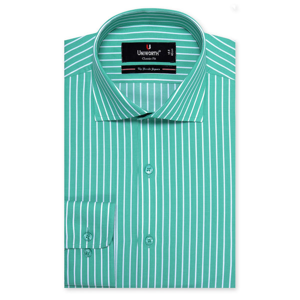 Times Square Green And White Stripe Classic Fit Dress Shirt-15½