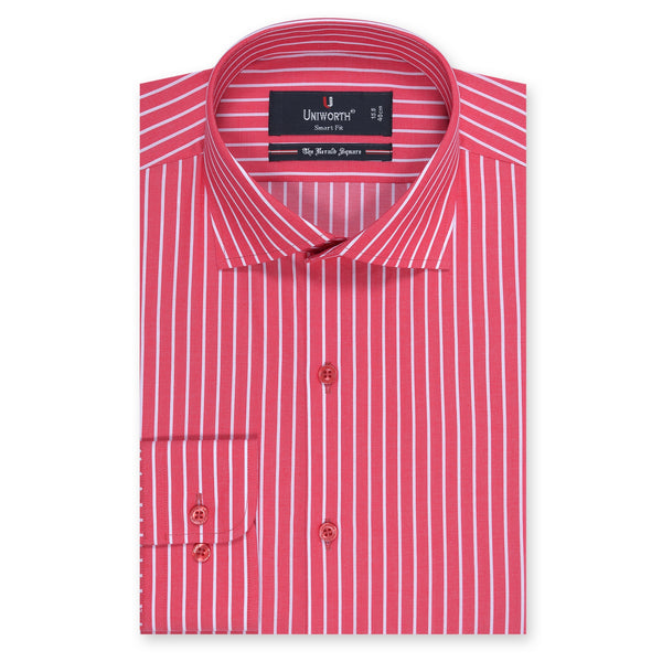 The Herald Square Red And White Stripe Smart Fit Dress Shirt-14½