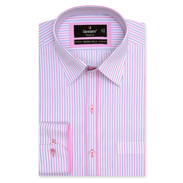 Beverly Hills Pink And Blue Stripe Classic Fit Dress Shirt-14.5