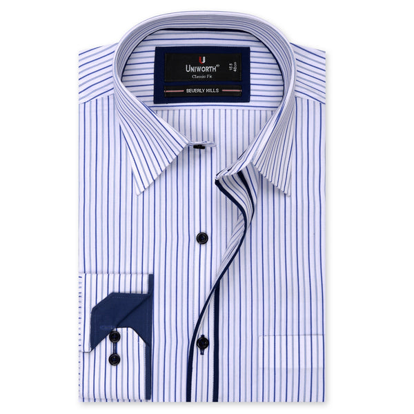 Beverly Hills White And Blue Stripe Classic Fit Dress Shirt-14.5