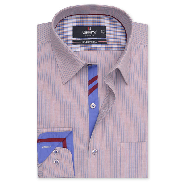 Beverly Hills Blue Stripe On Brown Classic Fit Shirt FS2512-14.5