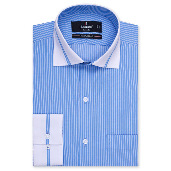 White And And Sky Blue Striped Designer Classic Fit Shirt FS2515-14½