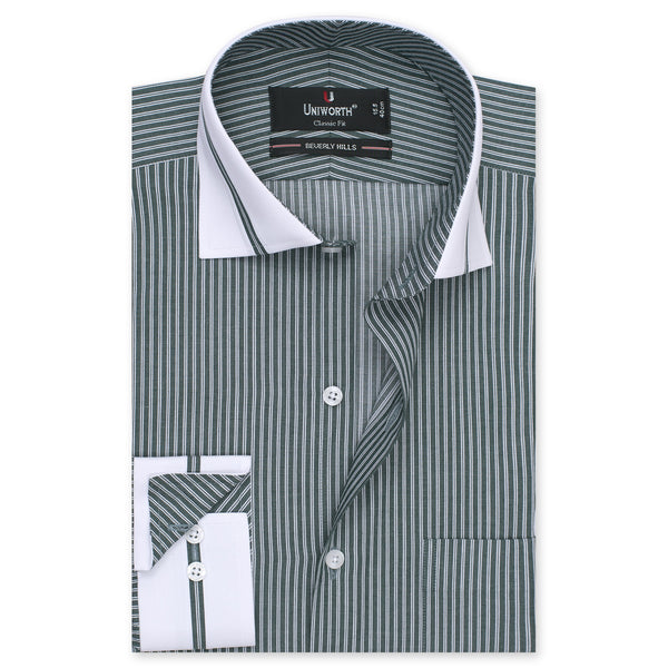 White And And Green Striped Designer Classic Fit Shirt FS2517-14½