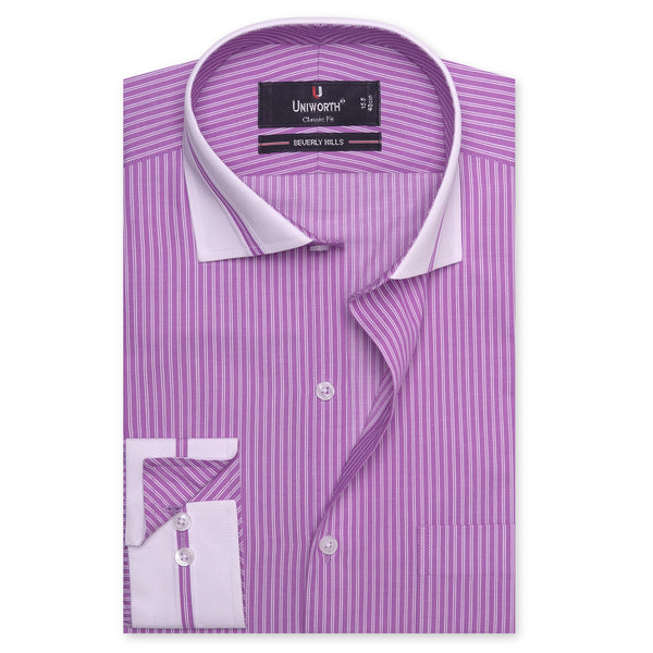 Beverly Hills White And Purple Striped Designer Classic Fit Shirt FS2518-14½
