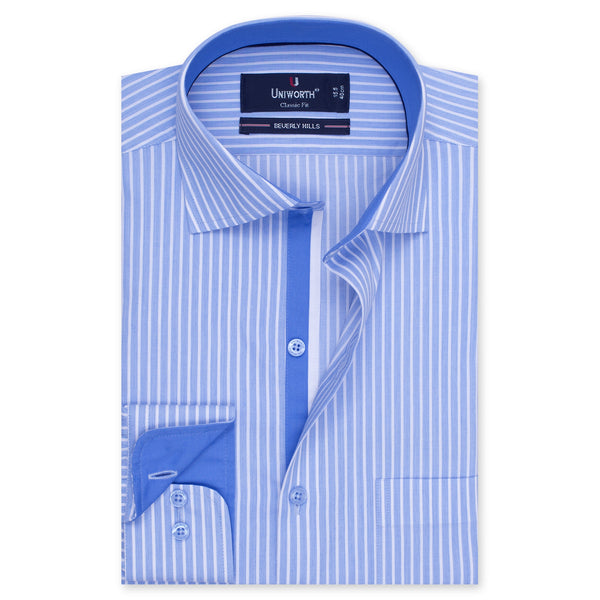 White And Sky Blue Striped Designer Classic Fit Shirt FS2519-14½