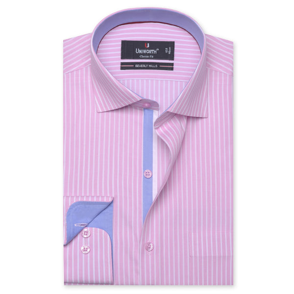 Beverly Hills White And Pink Striped Designer Classic Fit Shirt FS2521-14½