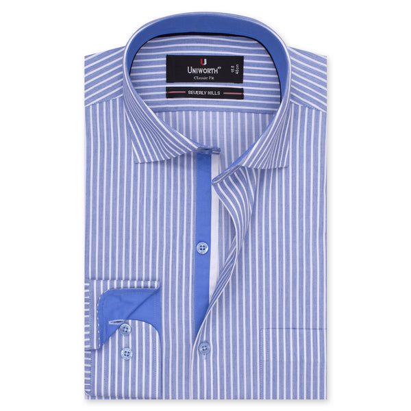 White And Navy Blue Striped Designer Classic Fit Shirt FS2523-14½