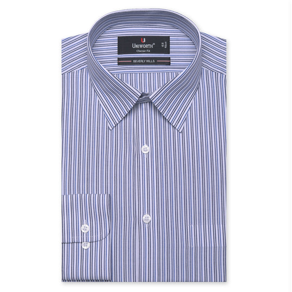 Beverly Hills White And Black Striped Classic Fit Dress Shirt FS2525-14½
