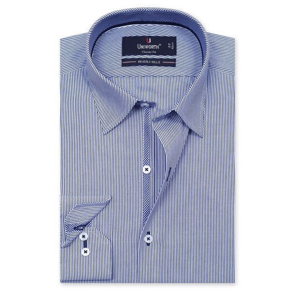 Beverly Hills White And Blue Striped Classic Fit Dress Shirt FS2547-1-14½