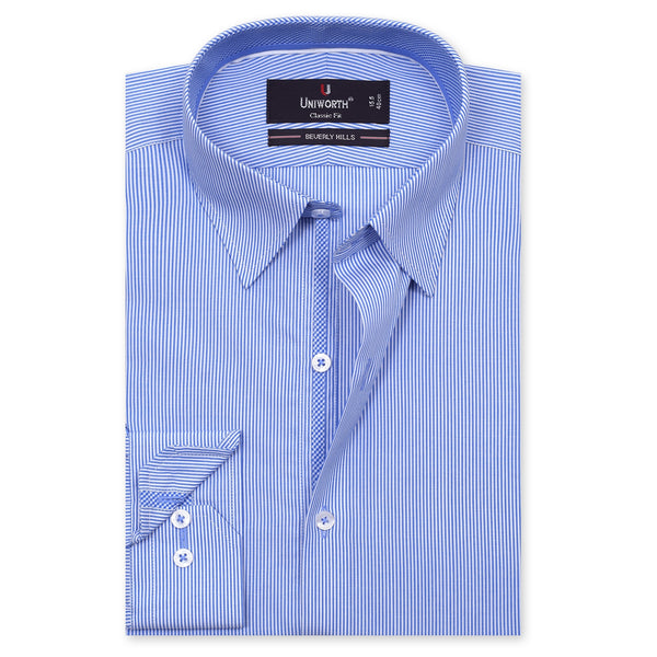 Beverly Hills White And Sky Blue Striped Classic Fit Dress Shirt FS2548-1-14½