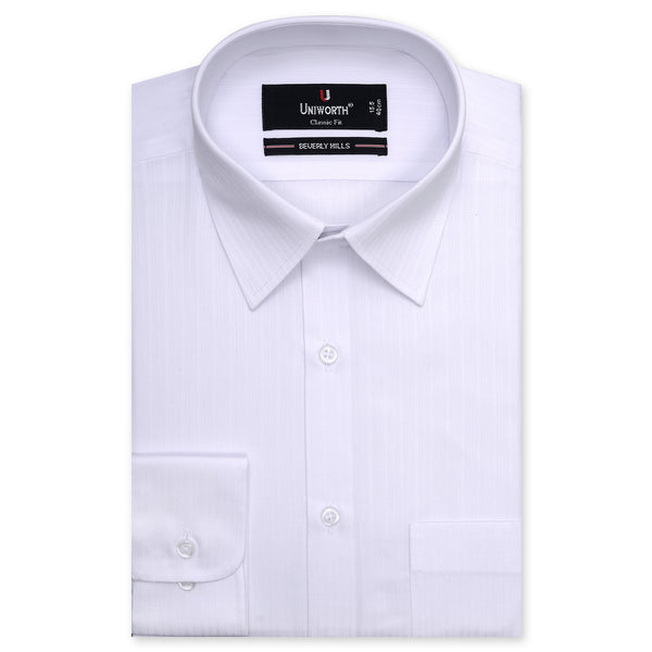 Beverly Hills White Self Stripe Classic Fit Dress Shirt-15