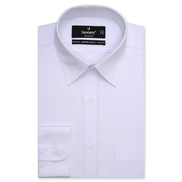 Beverly Hills White Self Stripe Classic Fit Dress Shirt-14.5