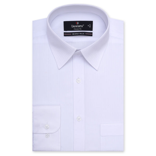 Beverly Hills White Self Stripe Classic Fit Dress Shirt FS2566-14.5