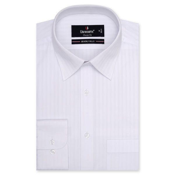 Beverly Hills Self Striped Classic Fit Dress Shirt-14.5
