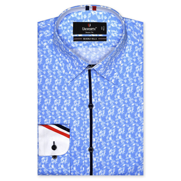 Beverly Hills White And Sky Blue Paper Wind Mill Printed Designer Smart Fit Shirt FS439