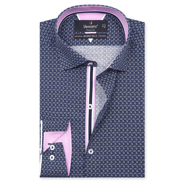 Beverly Hills Paisley Navy Blue Classic Fit Printed Designer Shirt-14½
