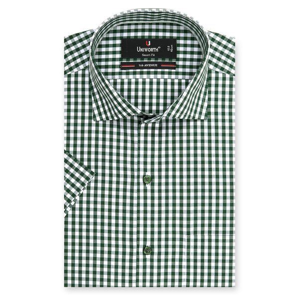 7th Avenue Green And White Check Half Sleeve Dress Shirt-14.5
