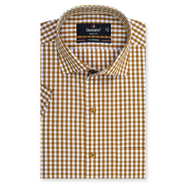 7th Avenue Brown And White Check Half Sleeve Dress Shirt-15